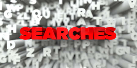 searches: SEARCHES -  Red text on typography background - 3D rendered royalty free stock image. This image can be used for an online website banner ad or a print postcard.