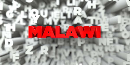 MALAWI -  Red text on typography background - 3D rendered royalty free stock image. This image can be used for an online website banner ad or a print postcard.