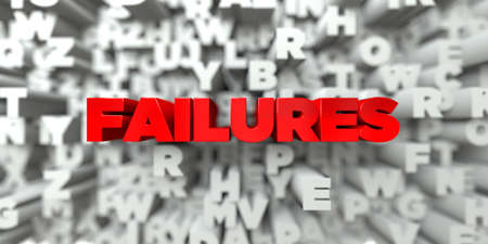 failures: FAILURES -  Red text on typography background - 3D rendered royalty free stock image. This image can be used for an online website banner ad or a print postcard.