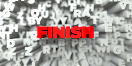 FINISH -  Red text on typography background - 3D rendered royalty free stock image. This image can be used for an online website banner ad or a print postcard. Stock Photo