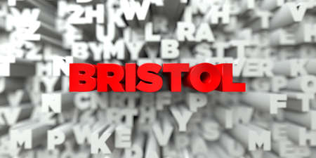bristol: BRISTOL -  Red text on typography background - 3D rendered royalty free stock image. This image can be used for an online website banner ad or a print postcard. Stock Photo