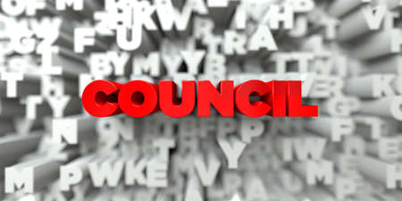 royalty: COUNCIL -  Red text on typography background - 3D rendered royalty free stock image. This image can be used for an online website banner ad or a print postcard.