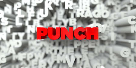 royalty: PUNCH -  Red text on typography background - 3D rendered royalty free stock image. This image can be used for an online website banner ad or a print postcard.
