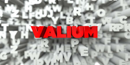 VALIUM -  Red text on typography background - 3D rendered royalty free stock image. This image can be used for an online website banner ad or a print postcard.