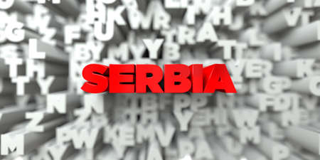 SERBIA -  Red text on typography background - 3D rendered royalty free stock image. This image can be used for an online website banner ad or a print postcard. Imagens