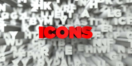 royalty: ICONS -  Red text on typography background - 3D rendered royalty free stock image. This image can be used for an online website banner ad or a print postcard. Stock Photo