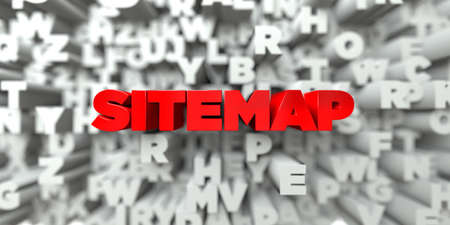 SITEMAP -  Red text on typography background - 3D rendered royalty free stock image. This image can be used for an online website banner ad or a print postcard. Stock Photo