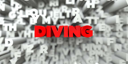 DIVING -  Red text on typography background - 3D rendered royalty free stock image. This image can be used for an online website banner ad or a print postcard. Stock Photo