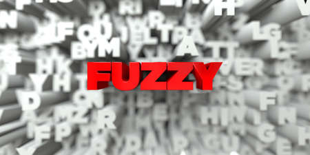 FUZZY - Red text on typography background - 3D rendered royalty free stock image. This image can be used for an online website banner ad or a print postcard.