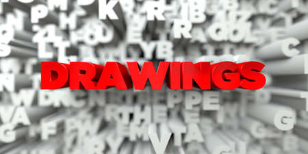 free stock: DRAWINGS -  Red text on typography background - 3D rendered royalty free stock image. This image can be used for an online website banner ad or a print postcard. Stock Photo
