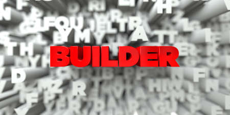 BUILDER -  Red text on typography background - 3D rendered royalty free stock image. This image can be used for an online website banner ad or a print postcard.