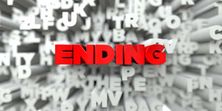 ENDING -  Red text on typography background - 3D rendered royalty free stock image. This image can be used for an online website banner ad or a print postcard.