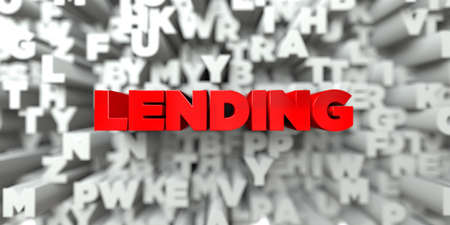 free stock: LENDING -  Red text on typography background - 3D rendered royalty free stock image. This image can be used for an online website banner ad or a print postcard.