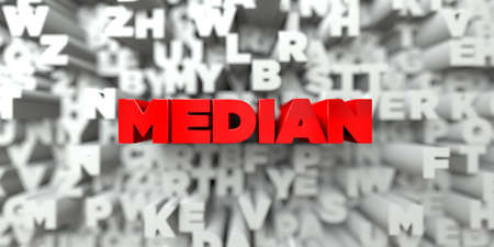 median: MEDIAN -  Red text on typography background - 3D rendered royalty free stock image. This image can be used for an online website banner ad or a print postcard.