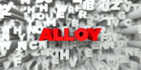 alloy: ALLOY -  Red text on typography background - 3D rendered royalty free stock image. This image can be used for an online website banner ad or a print postcard.