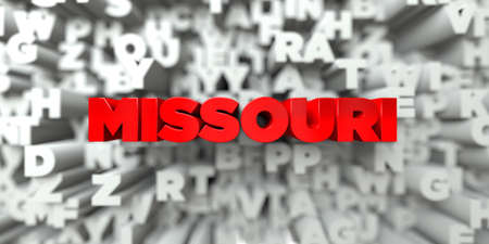 missouri: MISSOURI -  Red text on typography background - 3D rendered royalty free stock image. This image can be used for an online website banner ad or a print postcard.