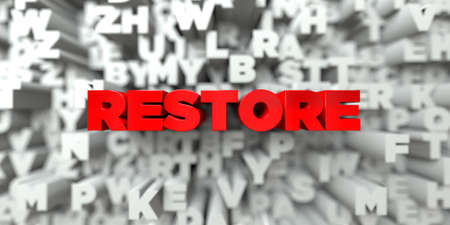 royalty: RESTORE -  Red text on typography background - 3D rendered royalty free stock image. This image can be used for an online website banner ad or a print postcard.