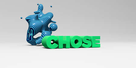 CHOSE -  color type on white studiobackground with design element - 3D rendered royalty free stock picture. This image can be used for an online website banner ad or a print postcard.