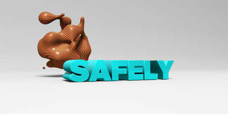 SAFELY -  color type on white studiobackground with design element - 3D rendered royalty free stock picture. This image can be used for an online website banner ad or a print postcard.