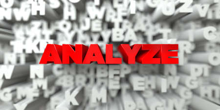 analyze: ANALYZE -  Red text on typography background - 3D rendered royalty free stock image. This image can be used for an online website banner ad or a print postcard.