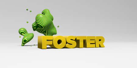 FOSTER -  color type on white studiobackground with design element - 3D rendered royalty free stock picture. This image can be used for an online website banner ad or a print postcard.
