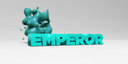EMPEROR -  color type on white studiobackground with design element - 3D rendered royalty free stock picture. This image can be used for an online website banner ad or a print postcard.