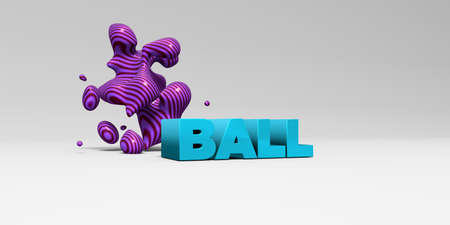 BALL -  color type on white studiobackground with design element - 3D rendered royalty free stock picture. This image can be used for an online website banner ad or a print postcard.