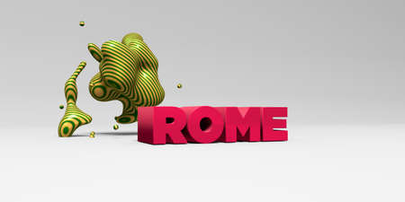 ROME -  color type on white studiobackground with design element - 3D rendered royalty free stock picture. This image can be used for an online website banner ad or a print postcard.