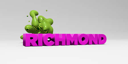 RICHMOND -  color type on white studiobackground with design element - 3D rendered royalty free stock picture. This image can be used for an online website banner ad or a print postcard.