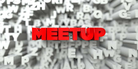 meetup: MEETUP -  Red text on typography background - 3D rendered royalty free stock image. This image can be used for an online website banner ad or a print postcard.