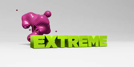 EXTREME -  color type on white studiobackground with design element - 3D rendered royalty free stock picture. This image can be used for an online website banner ad or a print postcard. Stock Photo