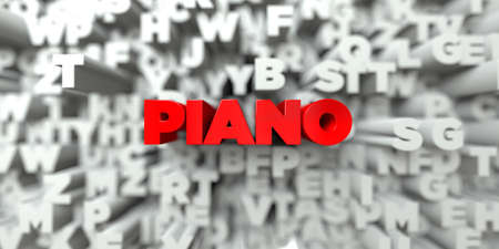 PIANO -  Red text on typography background - 3D rendered royalty free stock image. This image can be used for an online website banner ad or a print postcard.