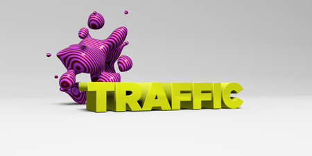 TRAFFIC -  color type on white studiobackground with design element - 3D rendered royalty free stock picture. This image can be used for an online website banner ad or a print postcard. Stock Photo