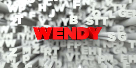 stock image: WENDY -  Red text on typography background - 3D rendered royalty free stock image. This image can be used for an online website banner ad or a print postcard.