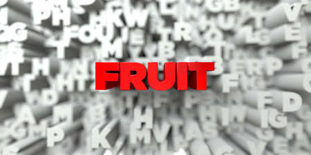 stock image: FRUIT -  Red text on typography background - 3D rendered royalty free stock image. This image can be used for an online website banner ad or a print postcard.