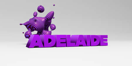 ADELAIDE -  color type on white studiobackground with design element - 3D rendered royalty free stock picture. This image can be used for an online website banner ad or a print postcard. Stock Photo