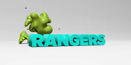 RANGERS -  color type on white studiobackground with design element - 3D rendered royalty free stock picture. This image can be used for an online website banner ad or a print postcard.