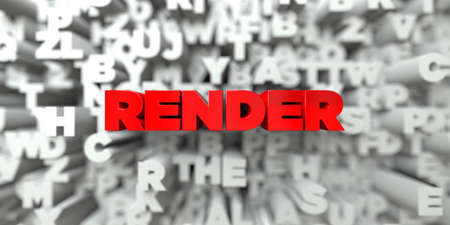 stock image: RENDER -  Red text on typography background - 3D rendered royalty free stock image. This image can be used for an online website banner ad or a print postcard.