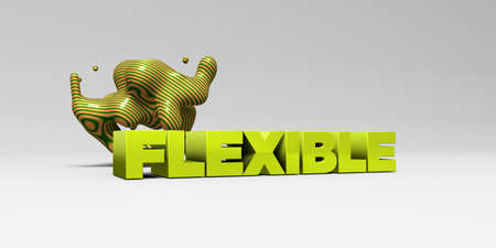 flexible: FLEXIBLE -  color type on white studiobackground with design element - 3D rendered royalty free stock picture. This image can be used for an online website banner ad or a print postcard.
