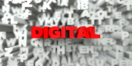 royalty: DIGITAL -  Red text on typography background - 3D rendered royalty free stock image. This image can be used for an online website banner ad or a print postcard. Stock Photo