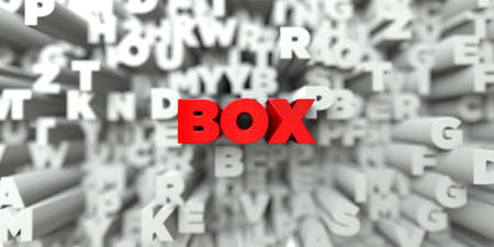 postcard box: BOX -  Red text on typography background - 3D rendered royalty free stock image. This image can be used for an online website banner ad or a print postcard.