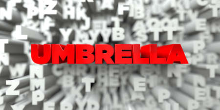 sentence typescript: UMBRELLA -  Red text on typography background - 3D rendered royalty free stock image. This image can be used for an online website banner ad or a print postcard. Stock Photo