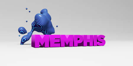 MEMPHIS -  color type on white studiobackground with design element - 3D rendered royalty free stock picture. This image can be used for an online website banner ad or a print postcard.