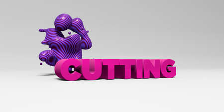 CUTTING -  color type on white studiobackground with design element - 3D rendered royalty free stock picture. This image can be used for an online website banner ad or a print postcard.