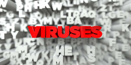 VIRUSES -  Red text on typography background - 3D rendered royalty free stock image. This image can be used for an online website banner ad or a print postcard.