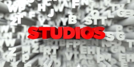 stock image: STUDIOS -  Red text on typography background - 3D rendered royalty free stock image. This image can be used for an online website banner ad or a print postcard.