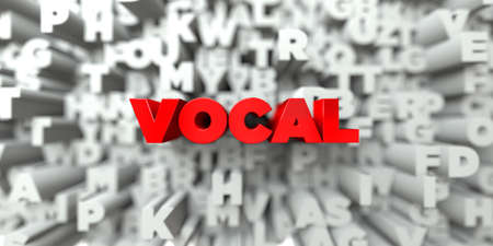 VOCAL -  Red text on typography background - 3D rendered royalty free stock image. This image can be used for an online website banner ad or a print postcard. Stock Photo