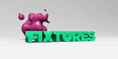 fixtures: FIXTURES -  color type on white studiobackground with design element - 3D rendered royalty free stock picture. This image can be used for an online website banner ad or a print postcard.