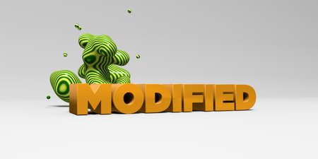 modified: MODIFIED -  color type on white studiobackground with design element - 3D rendered royalty free stock picture. This image can be used for an online website banner ad or a print postcard.