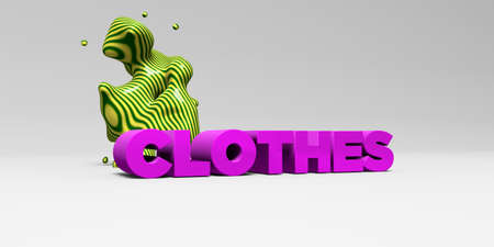 CLOTHES -  color type on white studiobackground with design element - 3D rendered royalty free stock picture. This image can be used for an online website banner ad or a print postcard. Stock Photo